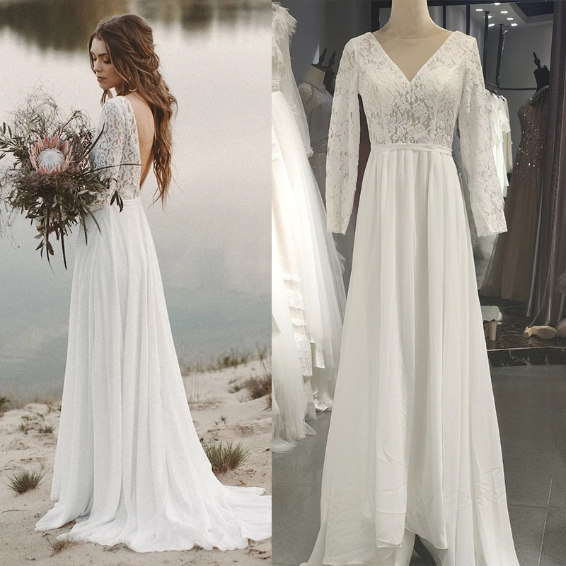 Review Lace Long Sleeve Boho Pre Wedding Shoot Dress Beach A Line Backless Customized Bridesmaid Gowns Factory 2021 New Spring #3049