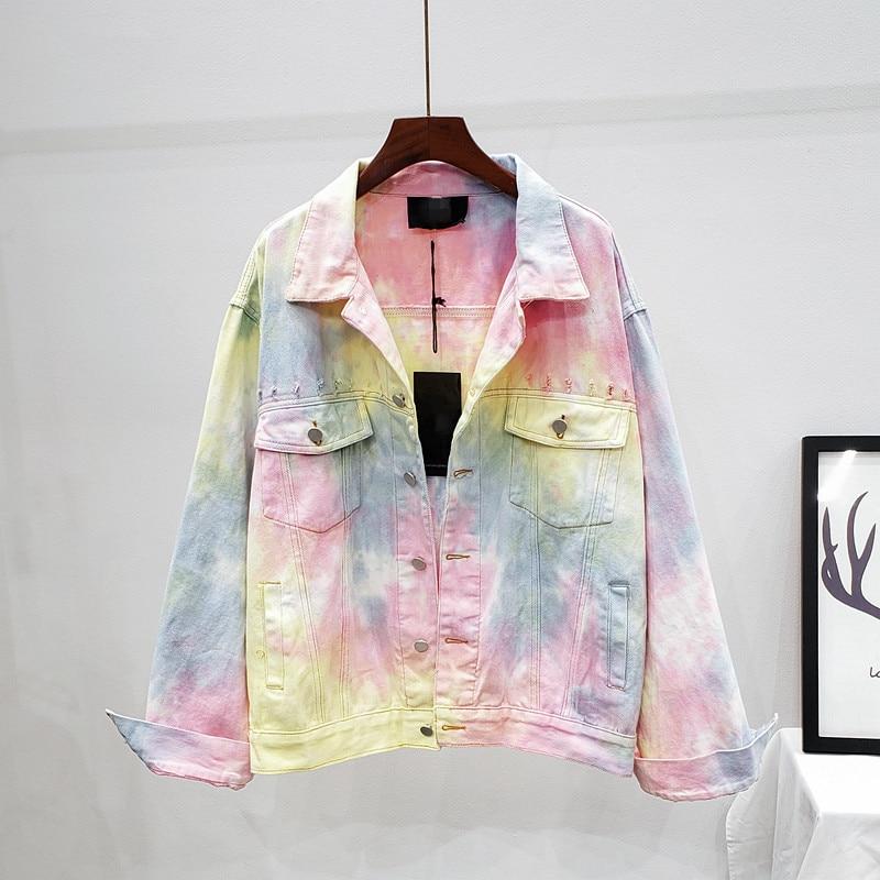 جاكت جينز نسائي موضة الخريف بألوان متدرجة من قماش الدنيم ذو ثقوب قصيرة جاكت معطف للنساء ملابس خارجية
