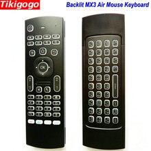 Teclado de ratón MX3 con retroiluminación y voz, Inglés ruso, 5 teclas de aprendizaje IR para caja de Smart TV de Android pc PK G30 G30s, mando a distancia