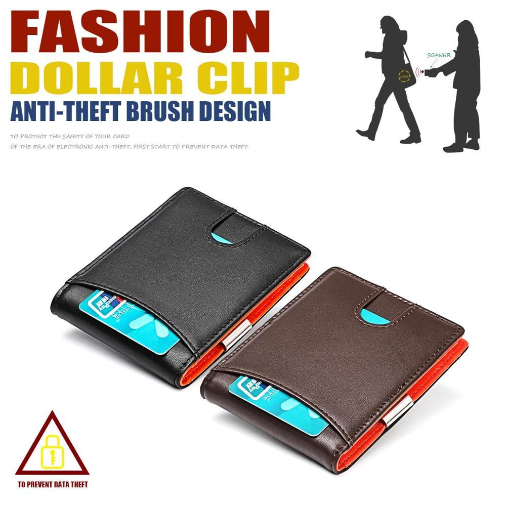 Billetera delgada de cuero genuino para hombre, billetera con bloqueo RFID, Clip para dinero ultrafino, Mini WOLFDEER