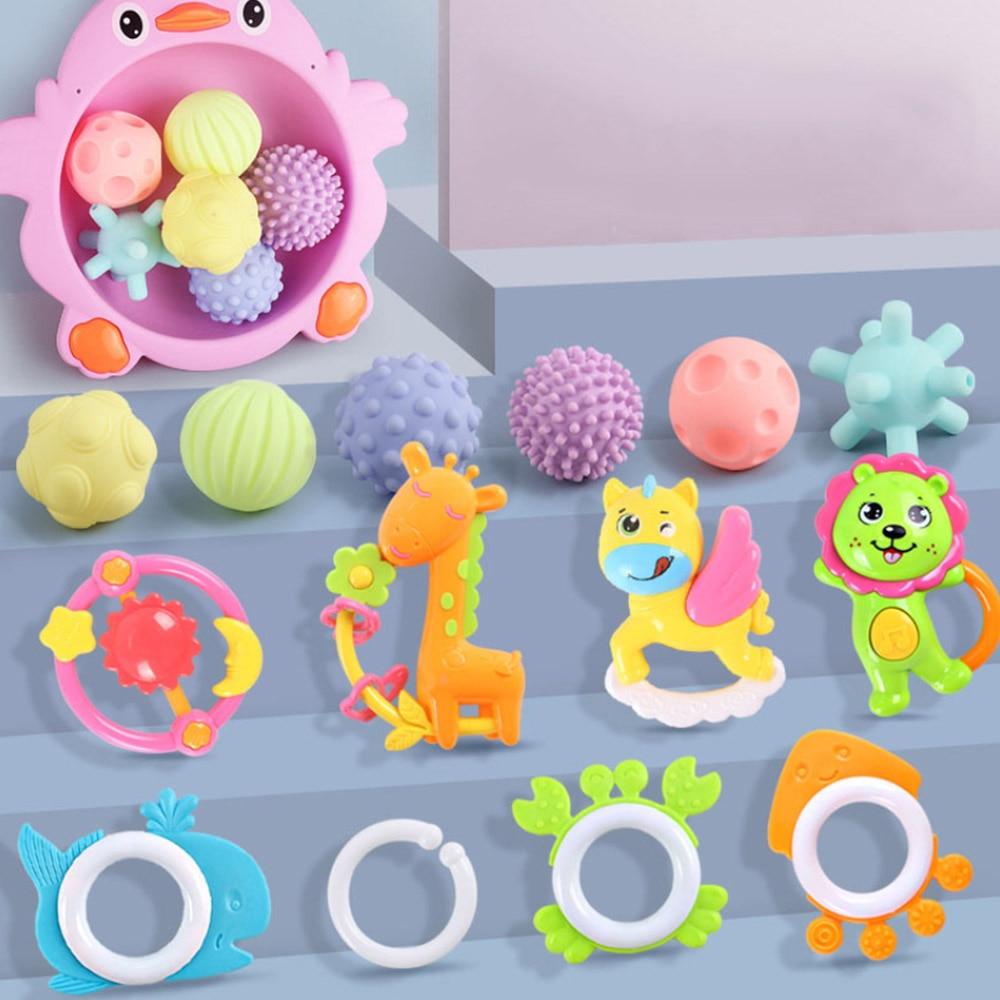 Bebê treinamento da mão massagem bola chocalho brinquedos multi bola desenvolver brinquedos definir dentes percepção tátil brinquedos de massagem bola mordida