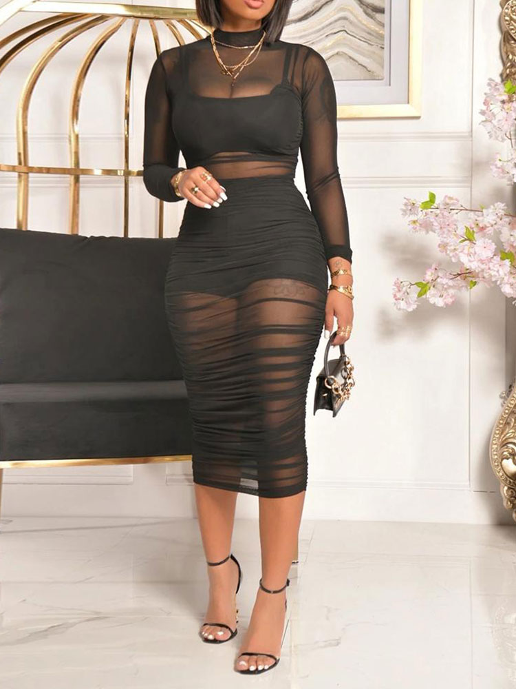 Summer Black Sexy Long Sleeve Slim Fit Dress 3PCS Crop Top & Shorts & Sheer Mesh Ruched Midi Dress Set Fashion women s fashionable sexy mesh grid sleep slim dress black