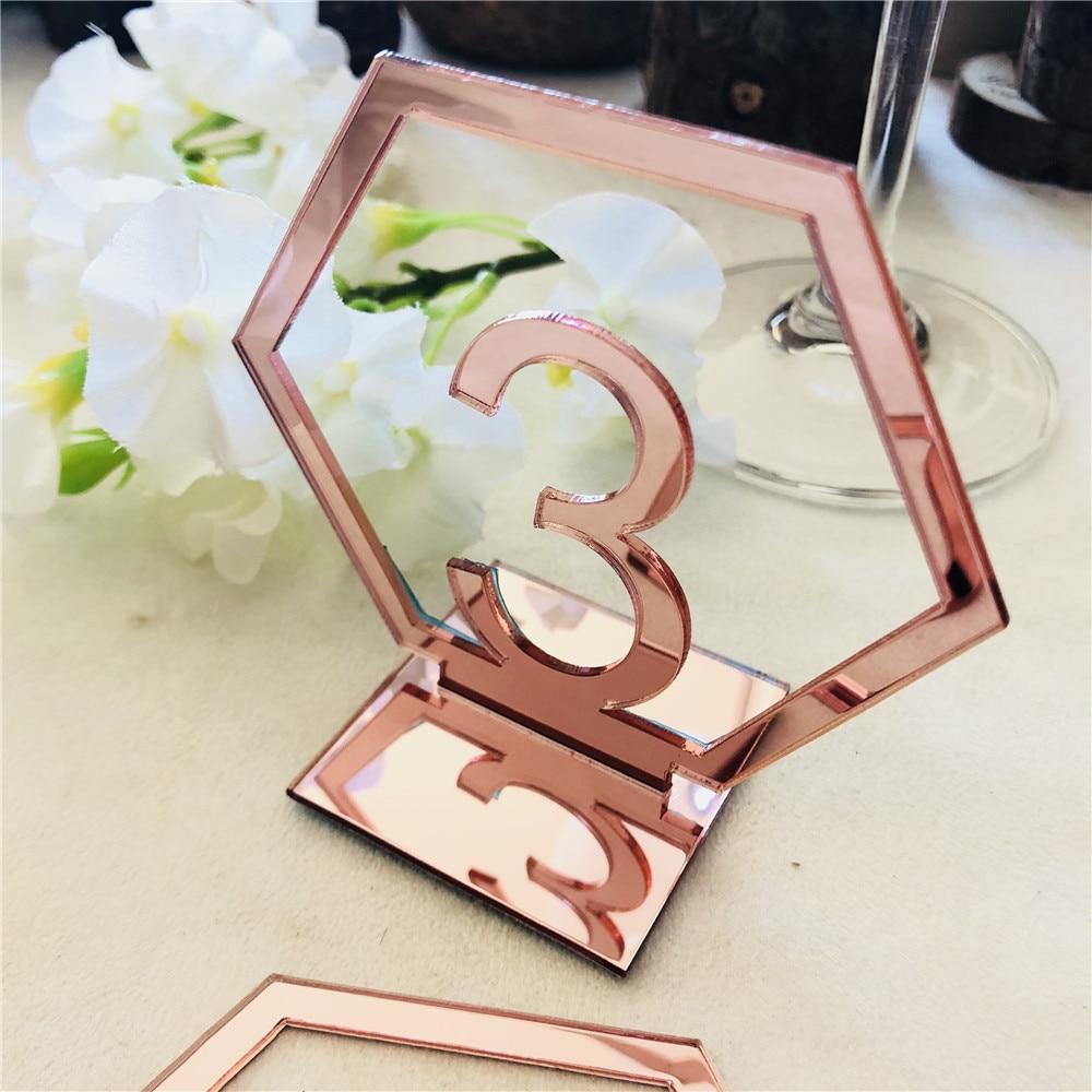 Placa hexagonal con símbolo numérico de 9CM, espejo de fiesta de cumpleaños de boda, dorado/plateado/oro rosa, decoración de MESA CENTRO DE MESA con números acrílicos