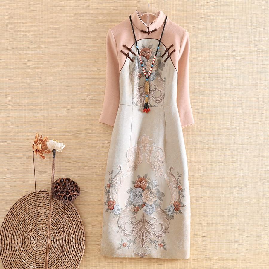Alta gama floral otoño mujeres estilo chino midi vestido Jacquard empalme lana vestidos elegante Delgado señora Qipao vestido de fiesta s-XXL
