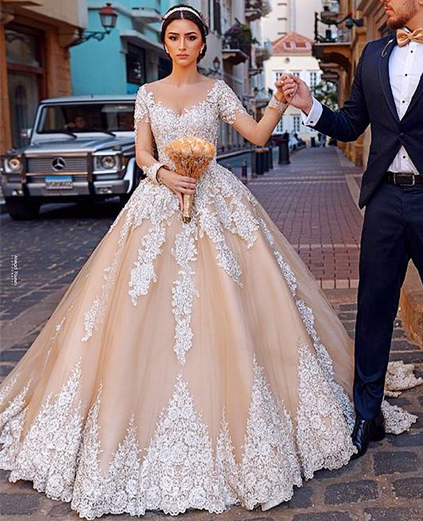Promo 2021 Plus Size Arabic Aso Ebi Champagne Lace Beaded Wedding dresses Gowns Sheer Neck Long Sleeves Vintage Sexy Bridal Dresses