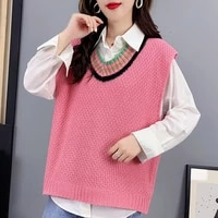 sweater vest women korean style loose sleeveless v neck pactwork kniteed pullover jumper mujer woman sweaters autumn pull femme