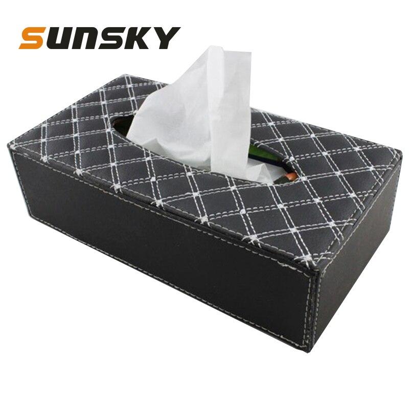Caja de pañuelos de coche lujosa Funda de cuero PU caja de pañuelos bandeja de bombeo de coche Vehecle Interior Sting Tiying toalls sets