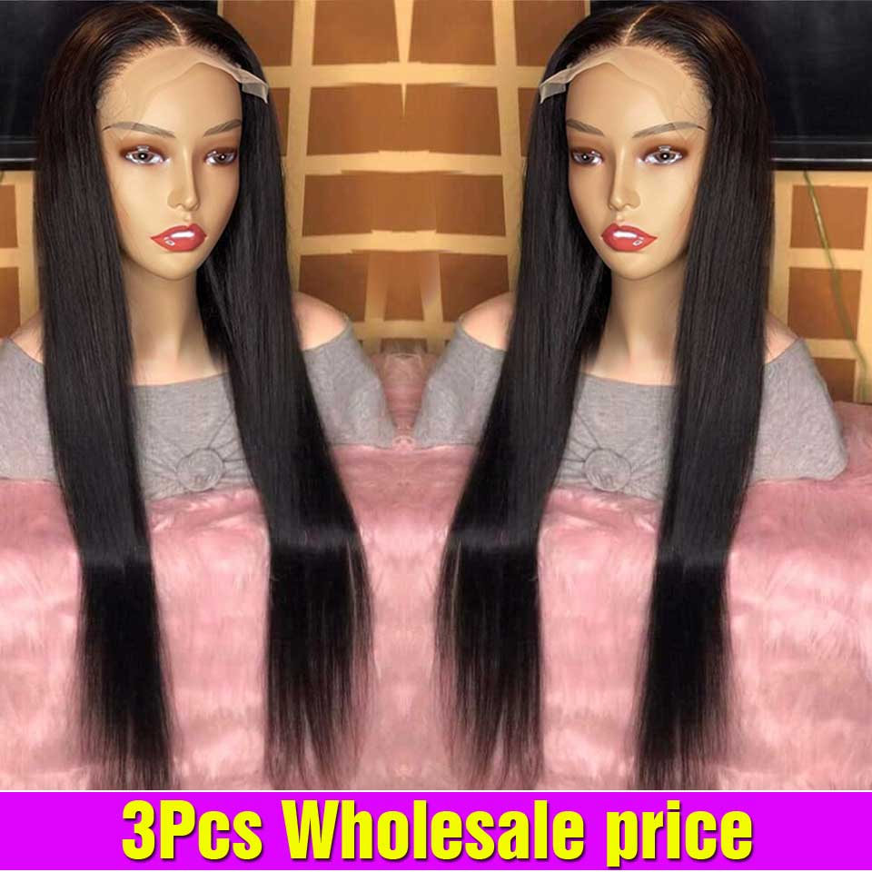 3PCS Wholesale Bone Straight Lace Front Wig In Bulk Pre Plucked Lace Closure Wig Brazilian Lace Front Human Hair Wigs For Women