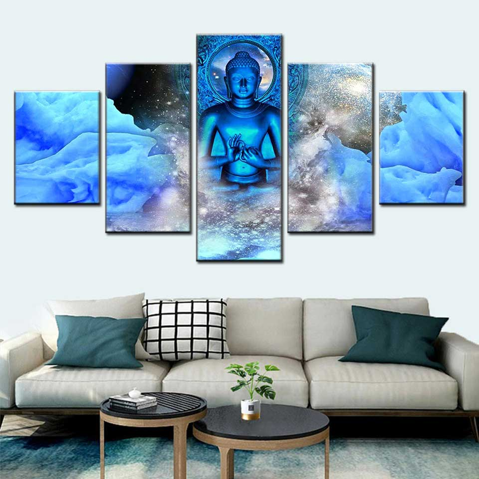 Moderno mural estatua de Buda cabeza 5 panel azul imagen de Buda póster de nebulosa habitación decoración modular, pintura de la lona