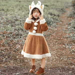 Kids Girls Christmas Elk Animal Cosplay Velvet Hooded Dress Children Halloween Role Pretend Play Costume Party Outfits