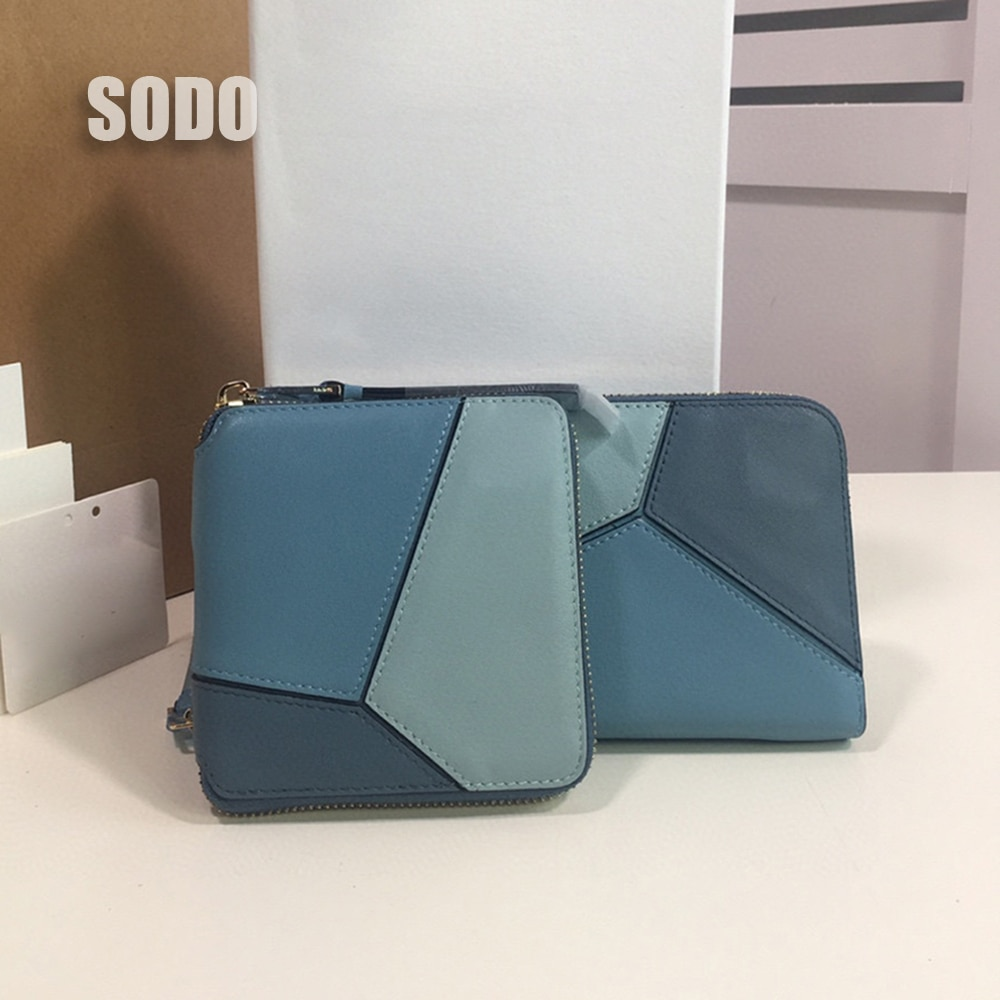 2021 Luxury Brand Genuine Leather Long Short Wallets Zipper Purse Patchwork Fashion Panelled Wallets Trendy Coin Bag Card Holder