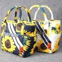 fashion women golf handbag sunflower print environmental protection canvas composite