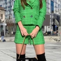 2021 new pure green casual women shorts matching with blazer spring autumn modern for suit cultivate morality outwear