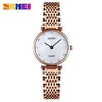 skmei fashion quartz watches women simple stainless steel strap diamond ladies bracelet watch female clock reloj hombre q026