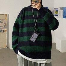 Suéter de punto a rayas para mujer, jerseys informales de gran tamaño, Jersey holgado y cálido, ropa de calle de punto para adolescentes, Otoño e Invierno