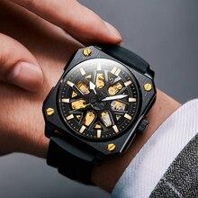 Brand Square Hollow Automatic Mechanical Watch Men Luxury Big Dial Luminous Wrist Watches Clock Rubb