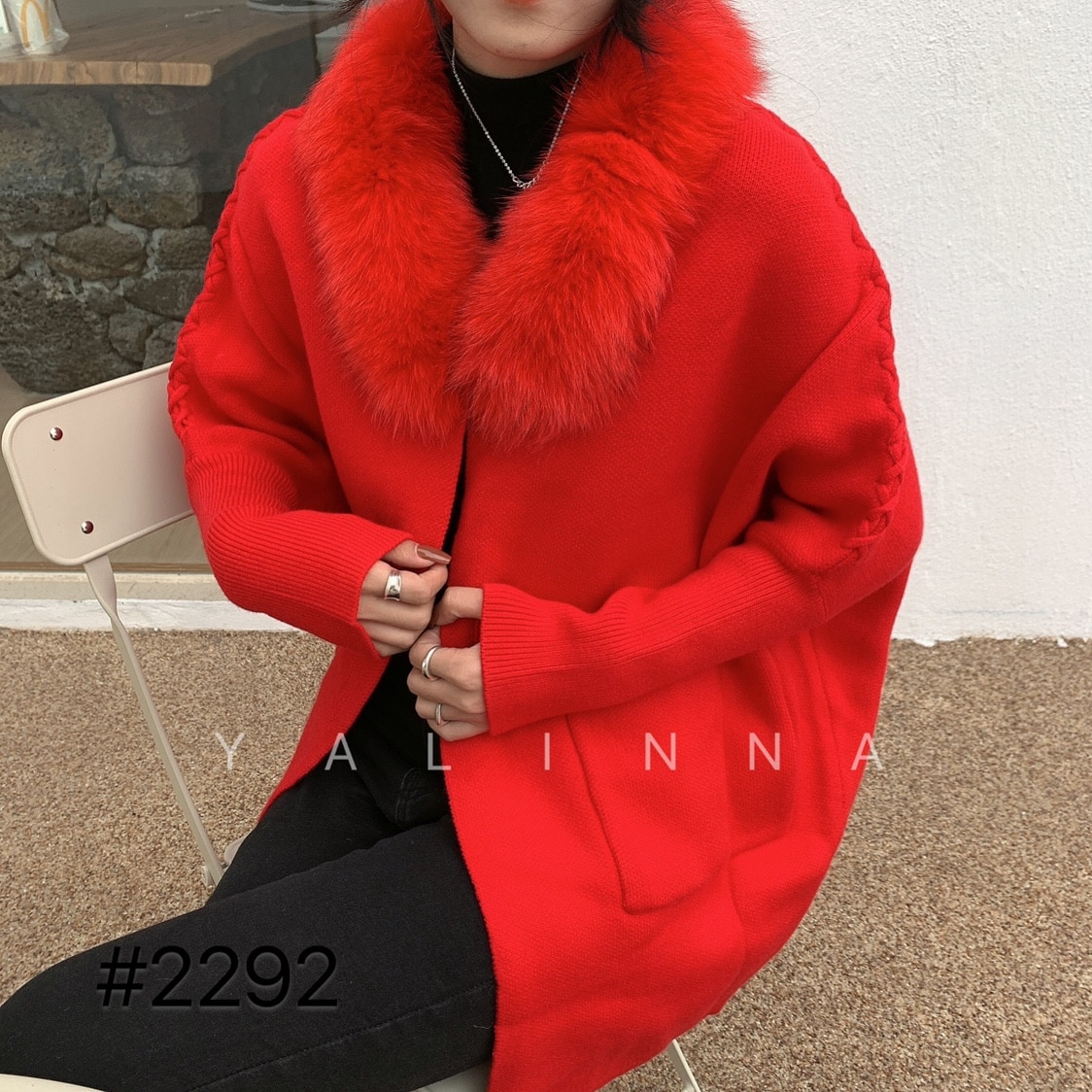 2020 new woman sweater fashion fox fur collar bat sleeve knitted sweater cardigan loose large size outer sweater enlarge