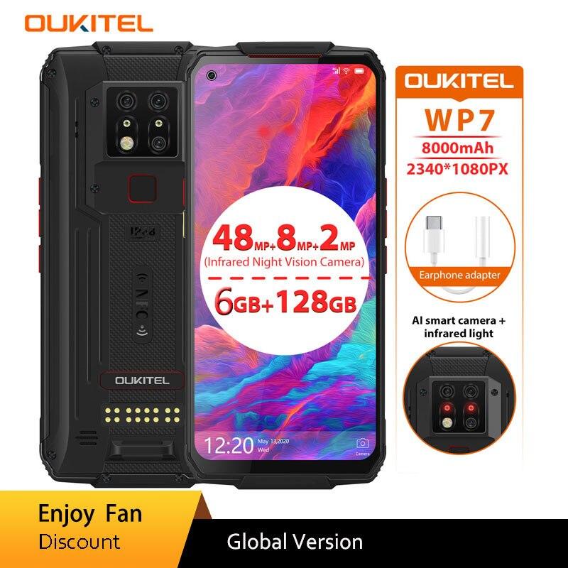 OUKITEL WP7 هاتف ذكي 6G 128GB ثماني النواة 8000mAh هاتف محمول 6.53 ''الأشعة تحت الحمراء للرؤية الليلية 48mp كاميرات ثلاثية جوّال المهامّ الوعرة