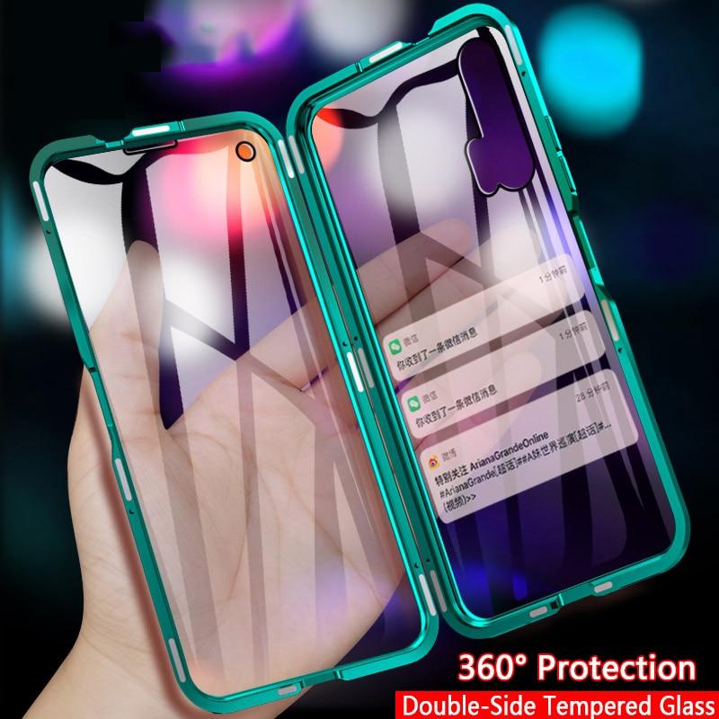 Funda de protección de 360 para teléfono Huawei Honor 20 9X Pro 8X 20i, funda Honor 10 Lite View 20 10, carcasa de parachoques de Metal de vidrio templado