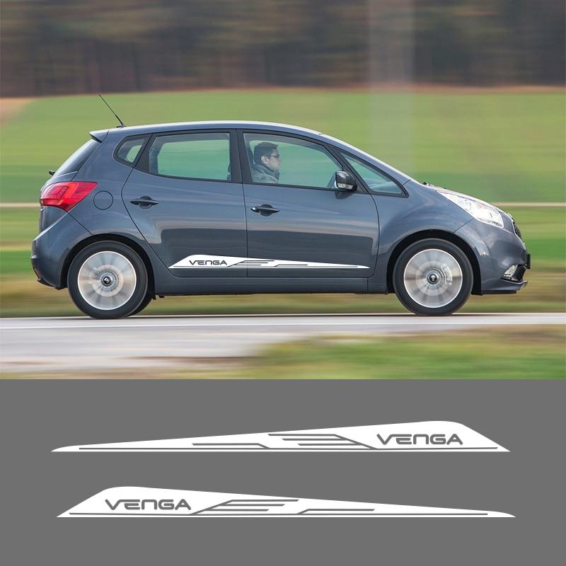 Pegatinas de vinilo de 2 piezas de vinilo con rayas laterales autoadhesivos gráficos para Kia Venga