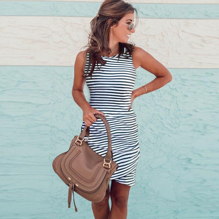 women summer casual bodycon stripe sexy dress