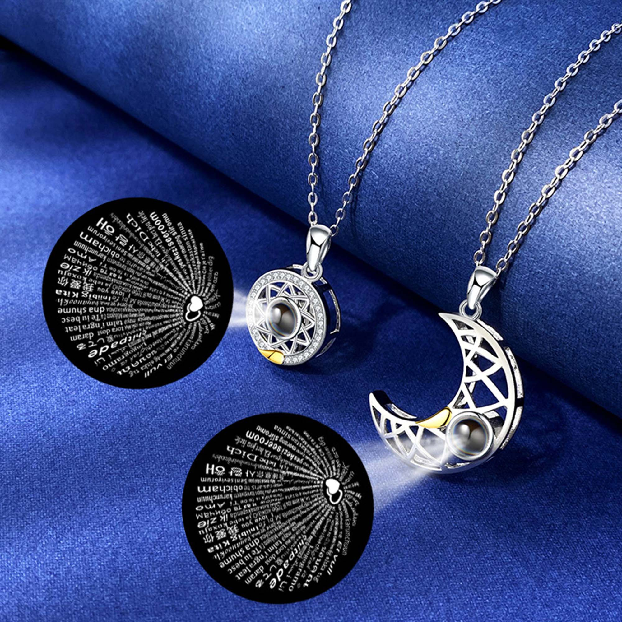 Sun Moon Shape Couple Personalized Necklaces Wedding Birthday Jewelry 100 Languages I Love You Projection Pendant Necklace Gifts handmade dreamy moon pendant necklace creative hand woven life tree gradient blue bumpy moon necklace for women birthday gifts