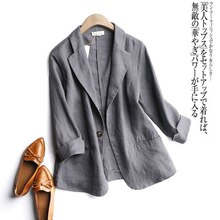 2020 Summer Arts Style Women 3/4 Sleeve Loose Casual Blazers Single Button Cotton Linen Solid Blezer Femme Coat Plus Size S995