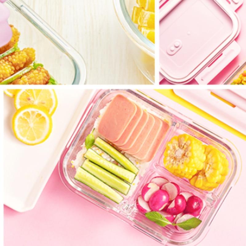 Fiambrera de Cristal con soporte para comida, recipiente de almacenamiento de comida...