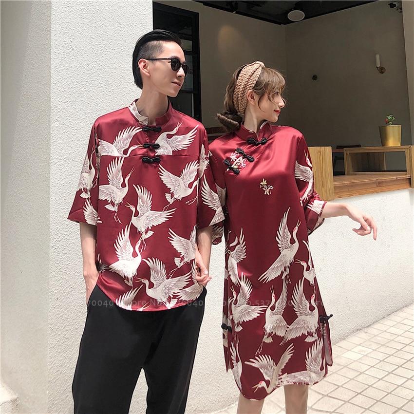 Женская и мужская пара, Восточная блузка Hanfu, китайский Тан, костюм, Ципао, вечерние мужские кимоно, топы, Harajuku, футболка, уличная одежда