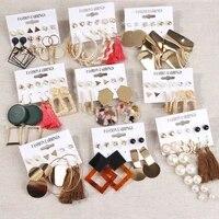 fashion tassel earrings for women trendy big geometric metal acrylic hanging dangle drop earring set female jewelry
