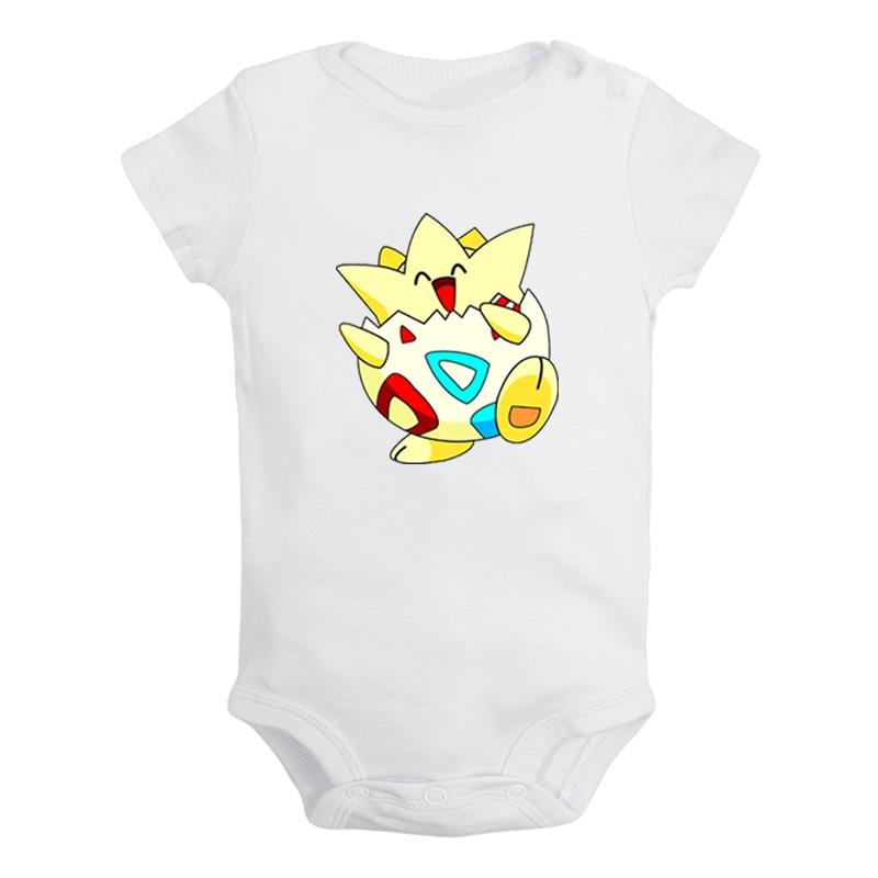 Cartoon Pokemon Togepi Jigglypuff Chansey Lickitung Newborn Baby Girl Boys Clothes Short Sleeve Romper Outfits 100% Cotton