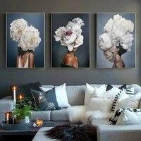 Nordique decor a la maison mur Art toile affiche Art moderne impression mode Sexy fille fleur fille peinture decoration photo salon
