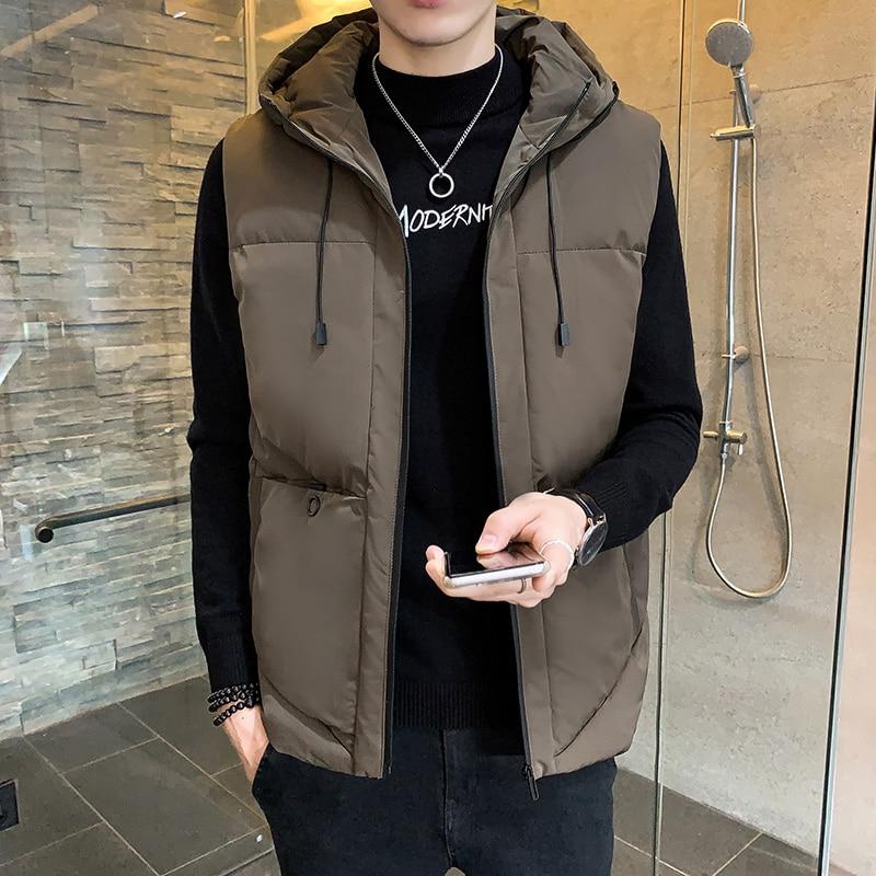 Модная мужская куртка, жилет без рукавов, зимние теплые женские повседневные пальто, мужской хлопковый жилет с капюшоном, утепленный жилет ...