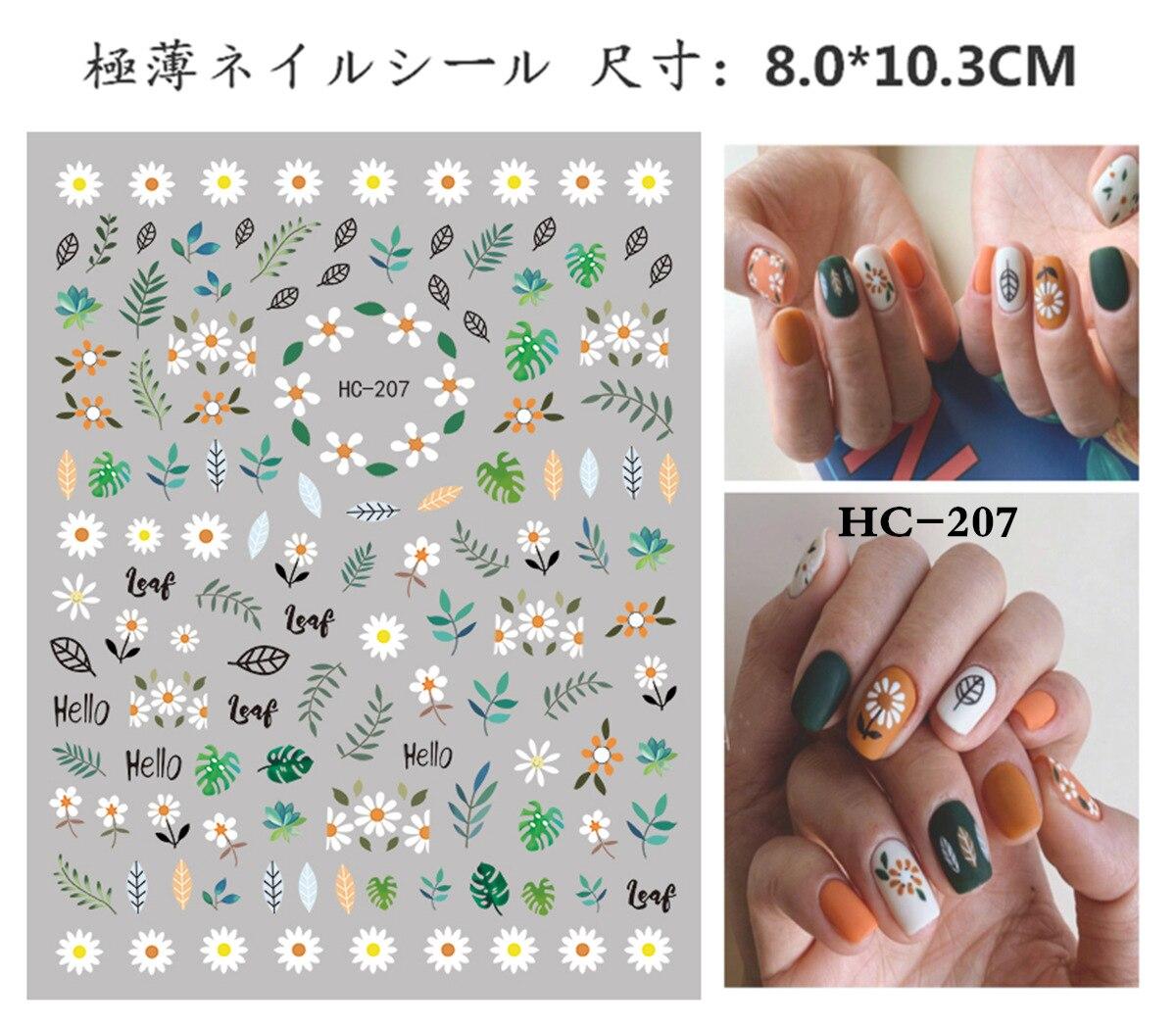 HC207-217 наклейки для ногтей авокадо Инс милые кокосовые наклейки для ногтей маленькие свежие радужные цветы, 2019