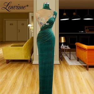 Vintage Green Velvet Evening Dresses 2021 Haute Couture Floor Length Beaded Crystals Stones Plus Size Party Dress Prom Gowns