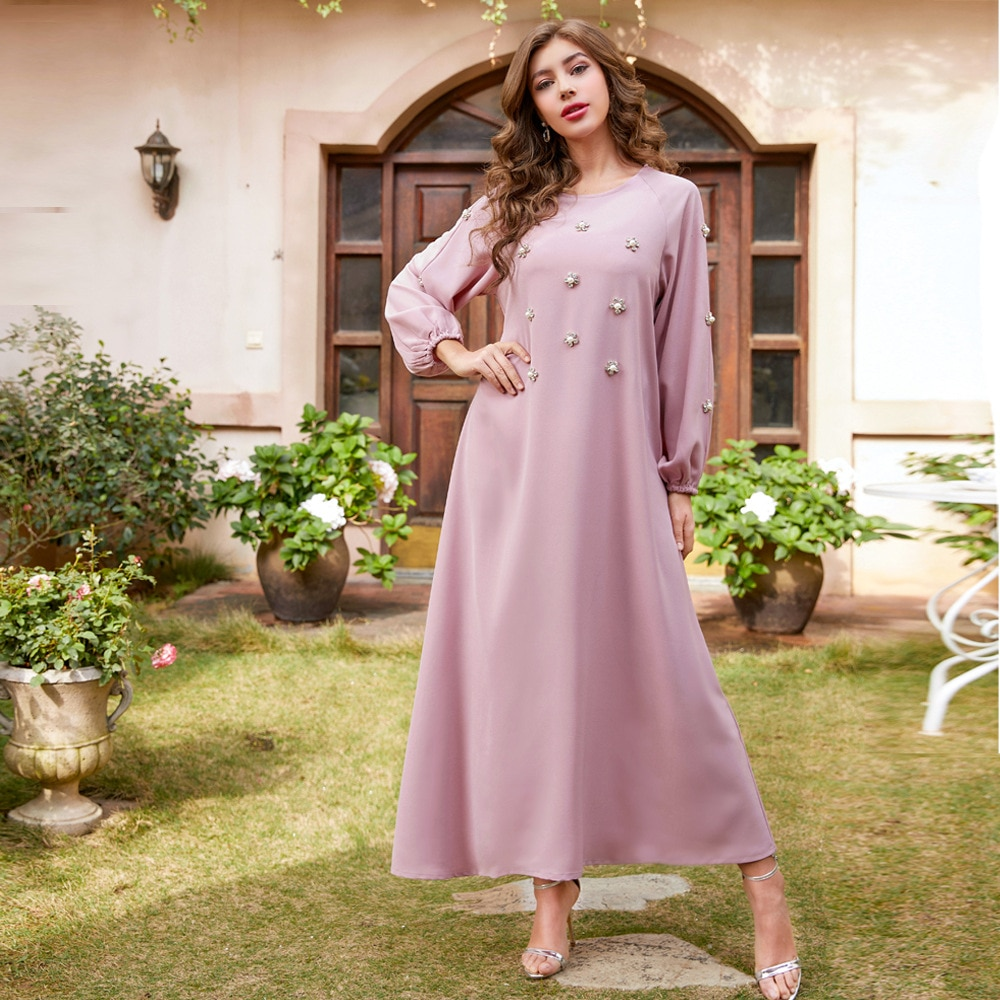 Elegant Diamond Women Muslim Dress O Neck India Turkey Abaya Party Night Vestidos Long Sleeve Maxi Robe Musulman Moroccan Kaftan