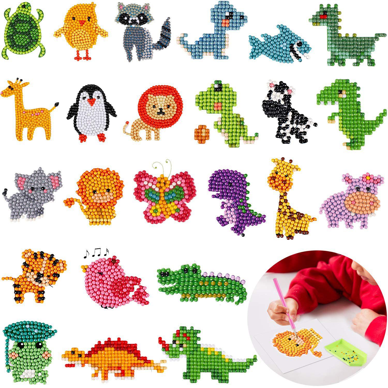 DIY Animals Kids Round Diamond Painting Stickers Full Drill Diamond Painting Kits Embroidery Cross Stitch Manual DIY Tools