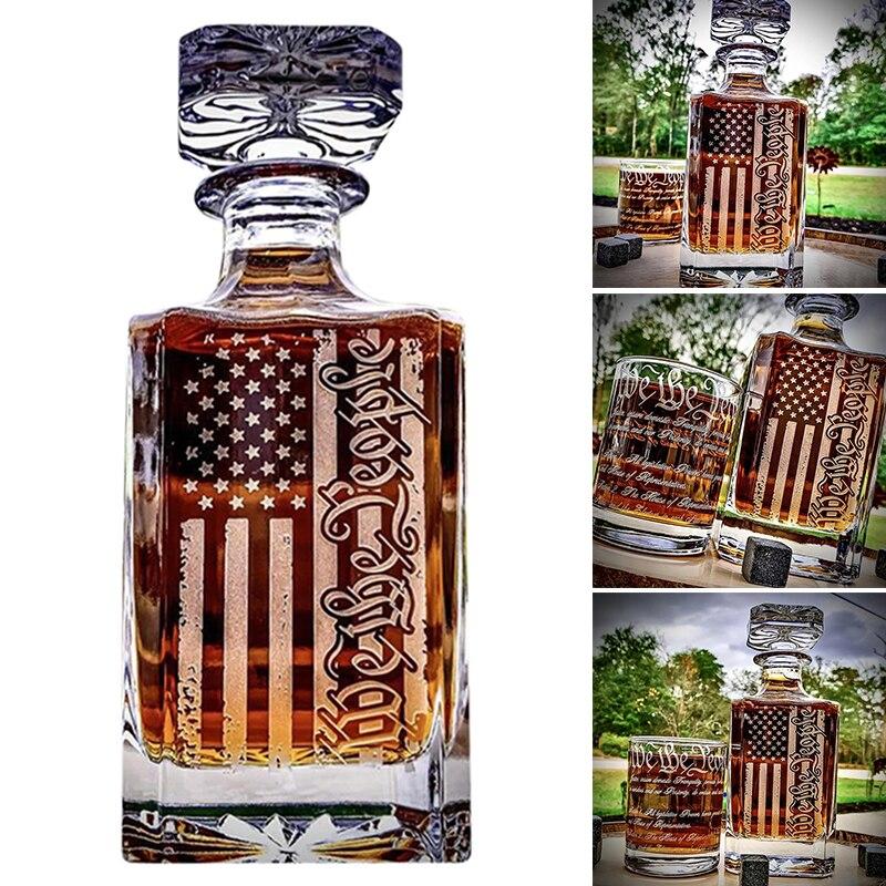 ويسكي الدورق مع تصميم العلم الأمريكي/450 مللي زجاجة عرض/زجاجة الروائح/زجاجة زجاجية متعددة الأغراض دروبشيب