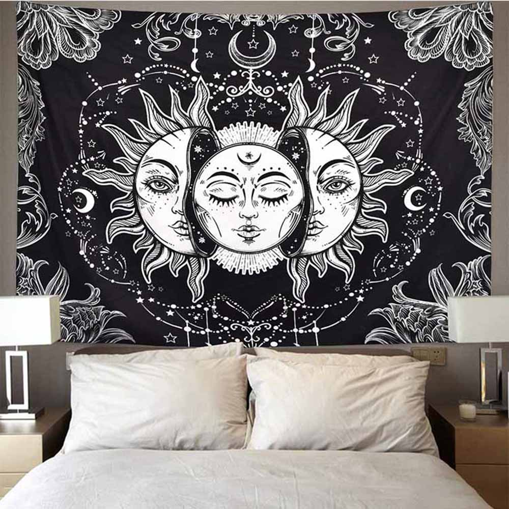 Mandala Tapestry White Black Sun And Moon Tapestry Wall Hanging Gossip Tapestries Hippie Wall Rugs Dorm Decor Blanket 95x73cm