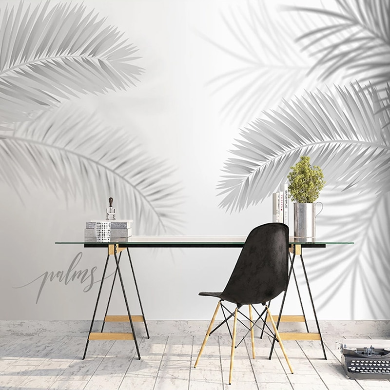 Papel tapiz personalizado con Mural en 3D, negro moderno, blanco, pintado a mano, pintura de pared artística para sala de estar, comedor, dormitorio