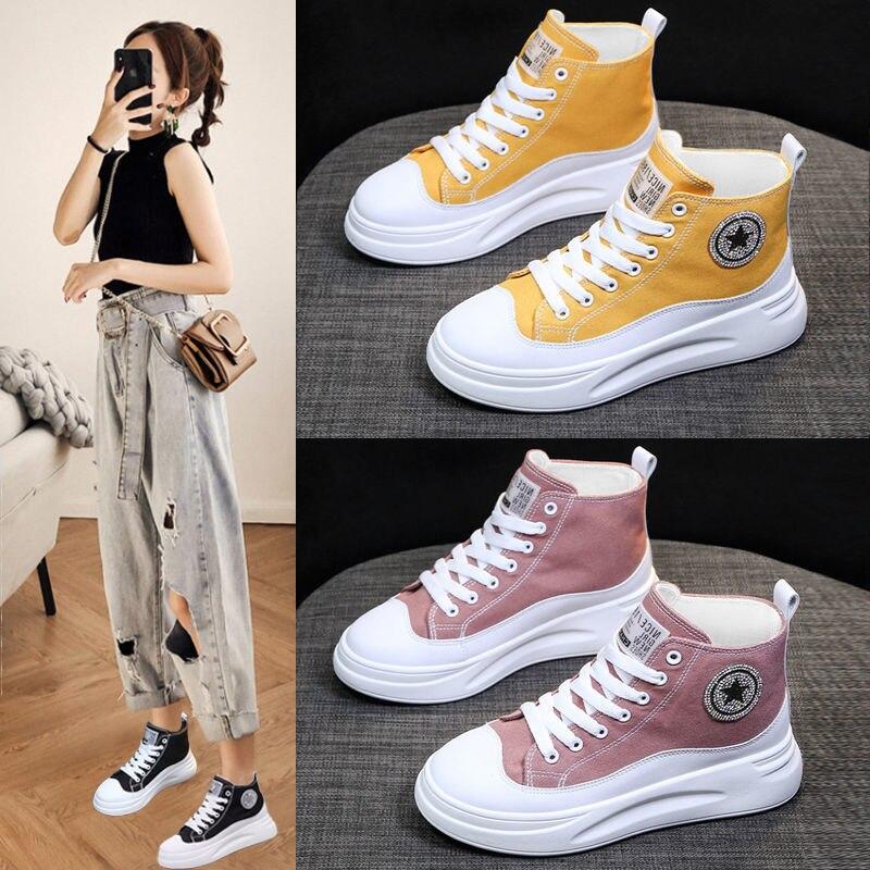 حذاء قماش مافن جديد لعام 2021 ، جديد ، موضة الربيع والخريف ، نعل سميك ، شعبي ، غير رسمي ، حذاء قماش كوري