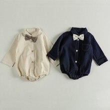 2020 automne bébé garçon à manches longues body infantile bébé garçon fille vêtements cravate bébé fille combinaisons enfants bébé Costume