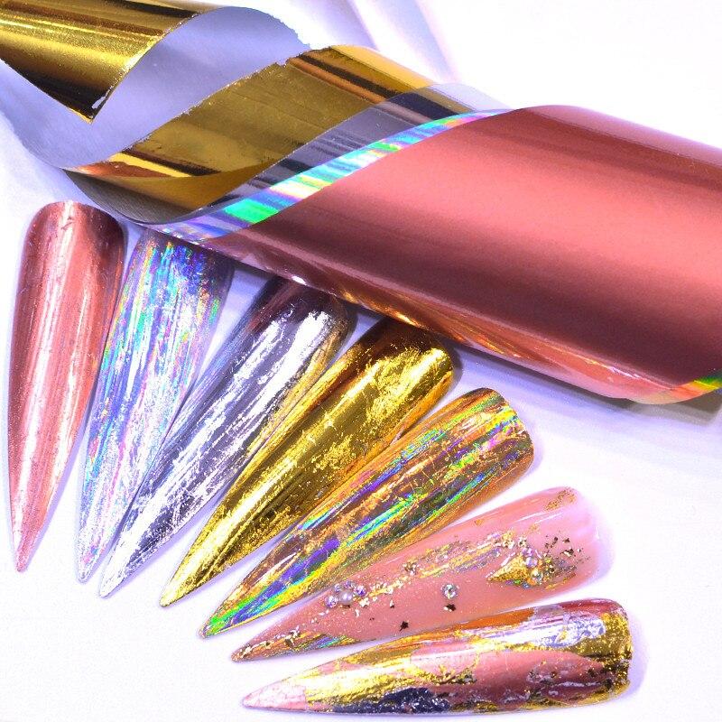 5 шт./компл., лазерная розовая Золотая матовая металлическая фольга, голографические наклейки для ногтей, цветок, звездное небо, фольга для н...