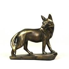 Vigilance loup Statue rétro polyrésine carnivore Animal Sculpture loup Totem mascotte décor cadeau et artisanat ornement accessoires
