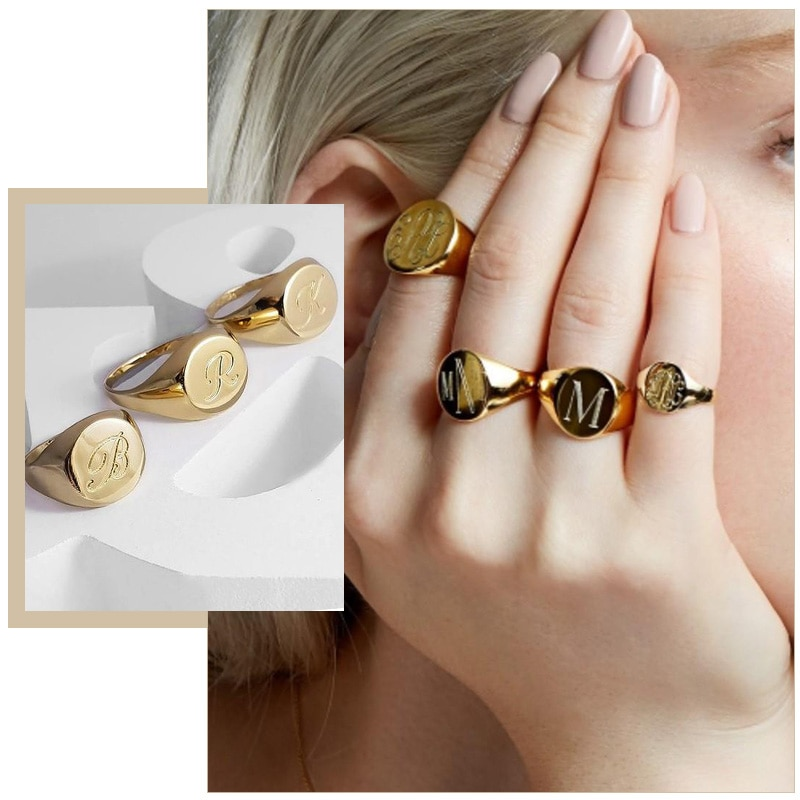 Customized Women Signet Ring Chunky Round Top Initial Letter Stamp Stainless Steel Punk Candid Fashi