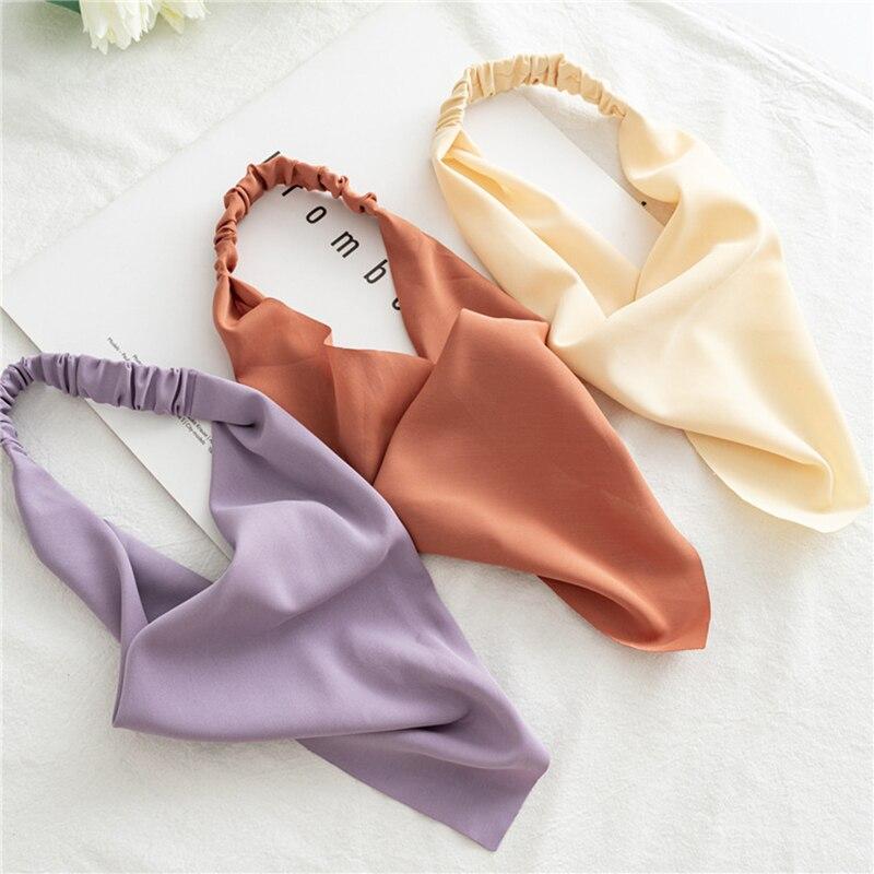 Women Triangle Hair Scarf DIY Turban Bandana Headwrap Solid Color Elastic Hair Band Macaron Color He