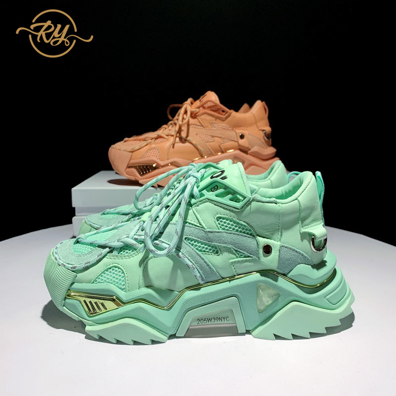 RY-RELAA النساء موضة رياضة المرأة 2020 الفاخرة جلد طبيعي الأحذية النسائية الخريف أسافين أحذية النساء INS فاخر النساء