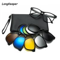 Поляризованные солнцезащитные очки Longkeeper, Винтажные Солнцезащитные очки с клипсой в оправе TR90 5 в 1, 2020