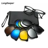 longkeeper 2020 vintage polarized sunglasses clip on optical glasses frame retro men clips tr90 5 in 1 sun glasses oculos de sol
