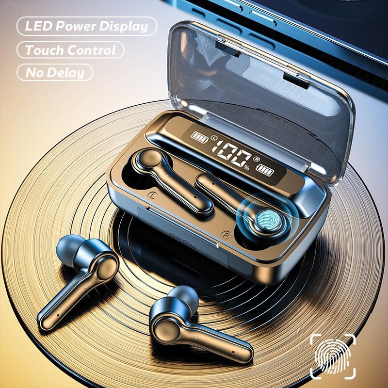 Wireless 5.0 Headphone Touch Control Sports Waterproof  Bluetooth Earphone HiFi 9D Bass Stereo Earph
